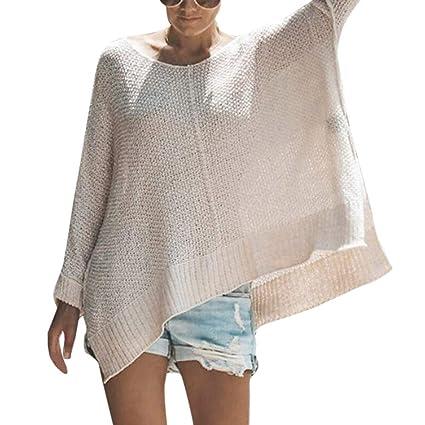 Women Winter O-Neck Off Shoulder Irregular Hem Split Long Sleeve Loose Knit  Sweater( e33f11334