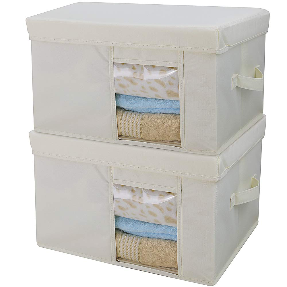 Folding Clothes Storage Box with Lid,Transparent View Window, Beige, 2pcs YJM