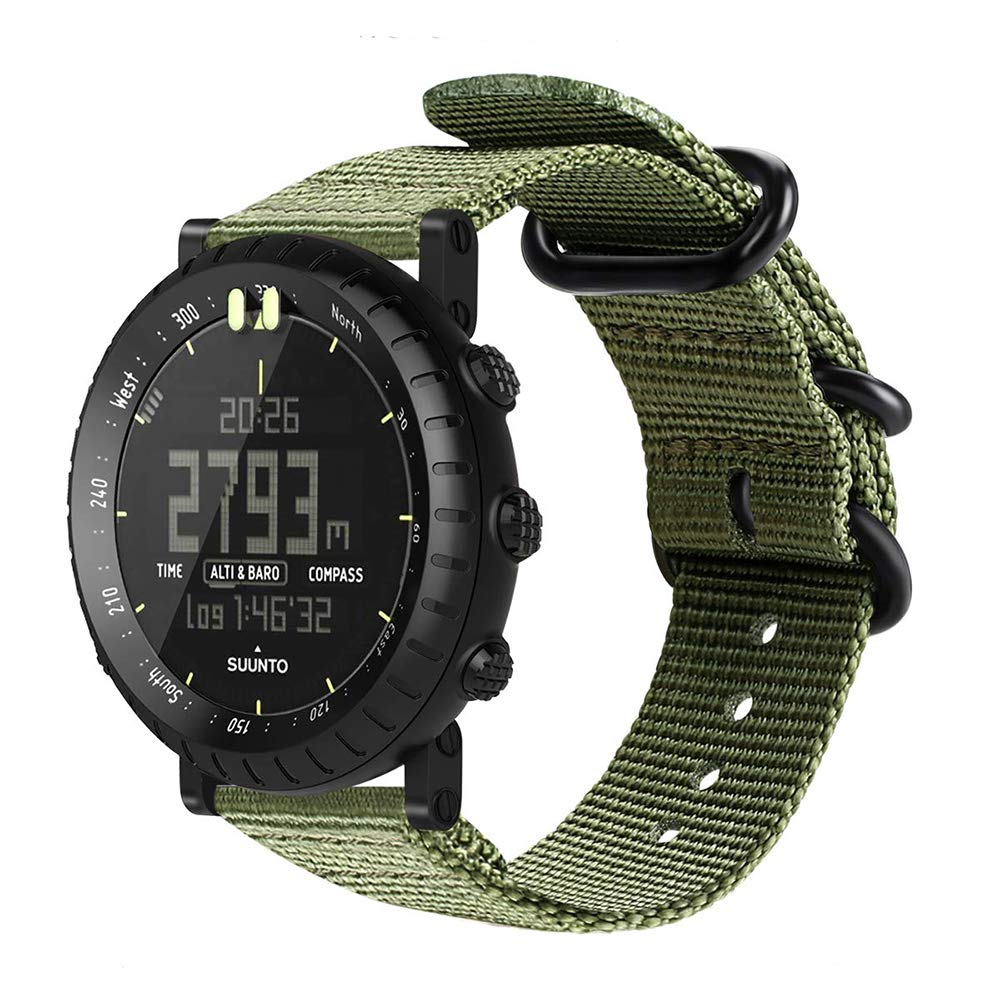 Digit.Tail Sport Military Nylon Replacement Universal NATO Watch Strap Bands Accessory with Lugs and Screw Tools for Suunto Core, Suunto Essential Smart Watch (Green)