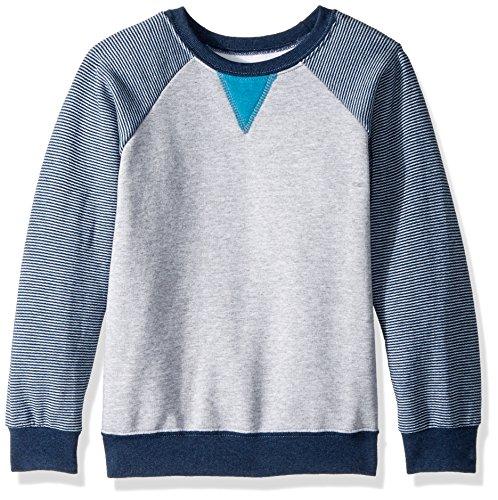 Fruit of the Loom Boys' Big Fleece Crewneck Sweatshirt, Athletic Smoke Blue Stripe/T.Blue Amulet Teal Heather, Medium
