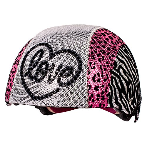 Raskullz Glam Gear Love Kids Bike Helmet Silver Sequins Zebra Pink Leopard Print for Cycling, One Size ()