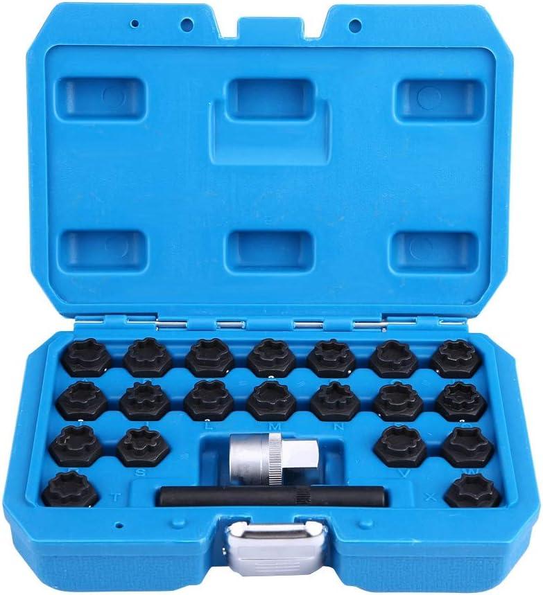 Set di chiavi di bloccaggio per ruote con custodia blu 22 pezzi antifurto in lega di acciaio per auto