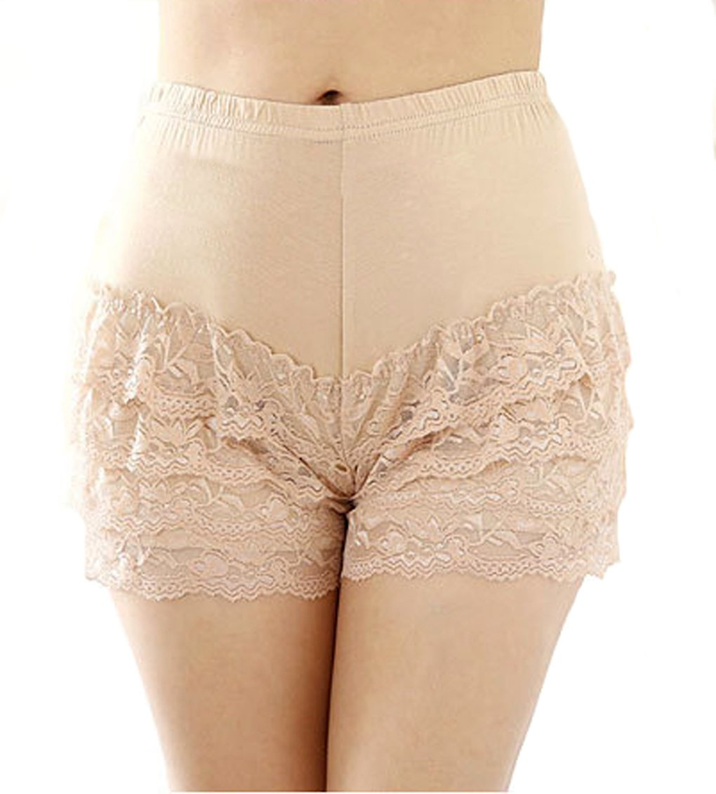 Women Ladies Pure Sexy Lace Trims Shorts Hot Pants Leggings Tights Modal Underwear Panty Underpants Slipshort Beige, M-Waistline:22''-28''