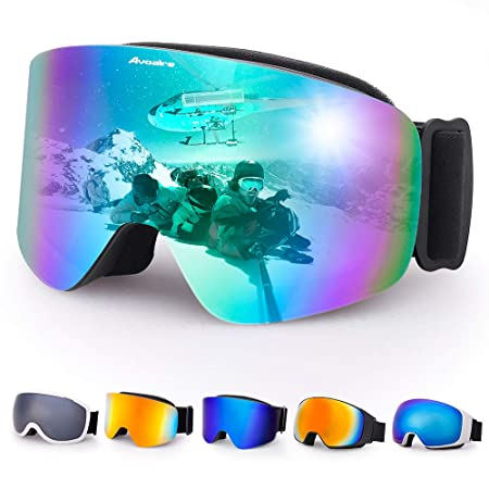 4155aff2ebfa Avoalre Ski Goggles Men and Women OTG Anti-fog Skiing Over Glasses UV400  Protection Snowboard