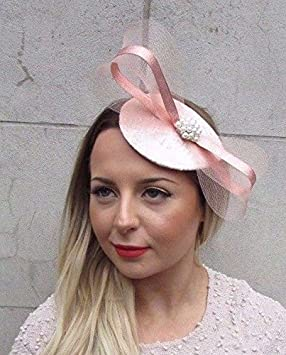 d702efce584b1 Image Unavailable. Image not available for. Colour  Rose Gold Silver Blush  Light Pink Teardrop Fascinator Hair Clip Wedding Hat ...