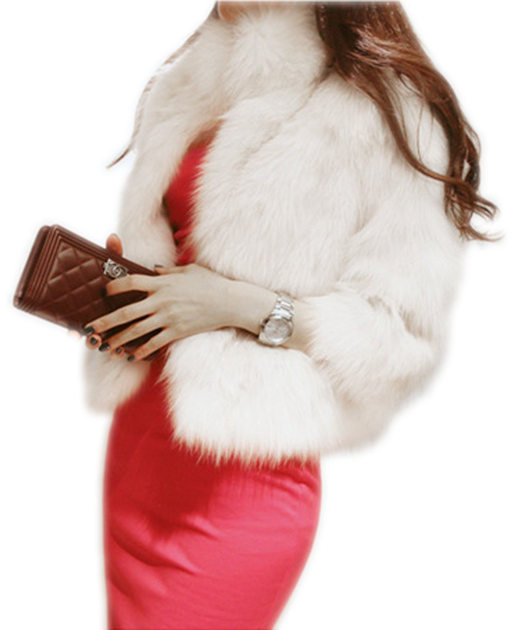 Women's Elegant Short Faux Fur Coat Winter Warm Fur Jacket Overcoat Outerwear, White, US 8-10/Tag 2XL