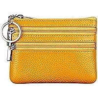Cartera Monedero Pequeñas Piel Genuino Slim Portatarjetas Mini Cremallera con Ilavero para Mujer (Amarillo)
