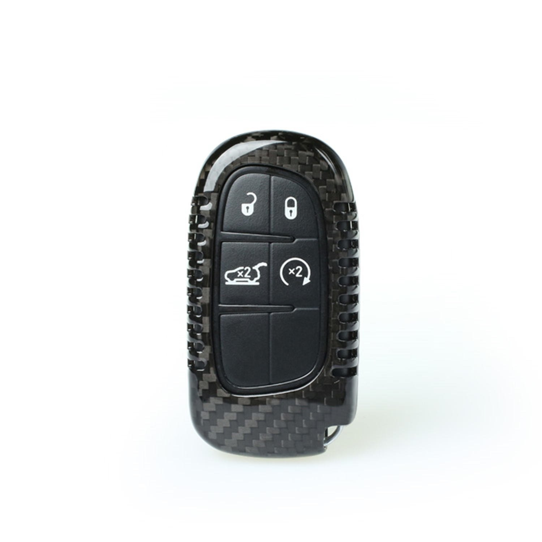 100 %カーボンファイバーケース用ダッジ/ジープジープチェロキー/ Dodge RamスマートキーレスリモートキーFob、男性の車のキーFob、純正カーボンファイバーカバーキーFobケースWomen 's Fobカバー ブラック M.JVISUN-KC-C80033JPA B078ZBT1F6  ブラック