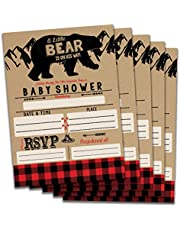 Impressions Fill in Baby Shower Invitations (Bear) Buffalo Plaid Theme