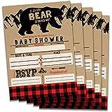 Fill in Baby Shower Invitations (Bear) Buffalo Plaid...