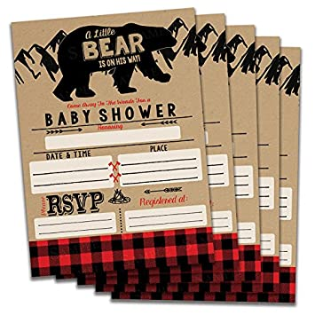 Impressions Fill in Baby Shower Invitations Bear Buffalo Plaid Theme