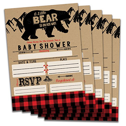Fill in Baby Shower Invitations (Bear) Buffalo Plaid Theme