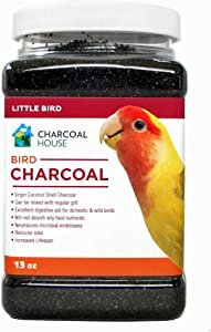 1qt Bird Charcoal for Small Birds - Activated Charcoal granular - Not from China - Health, Healthy, Canaries, Parakeets, Love Birds and Finches, Cages