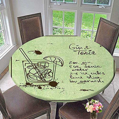 (PINAFORE HOME Simple Modern Round Table Cloth with Drawn Sketch Gin and Tonic Cocktail includ Recipe and redients for Daily use, Wedding, Restaurant 43.5