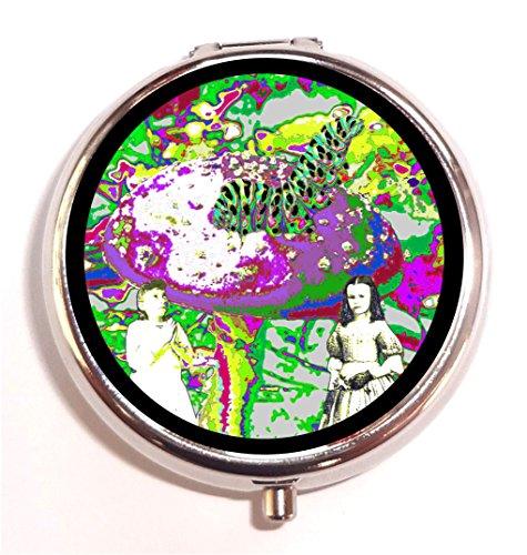 Alice in Wonderland Pill Box Pillbox Case Holder Psychedelic Trippy Mushroom Surreal Art Caterpillar]()