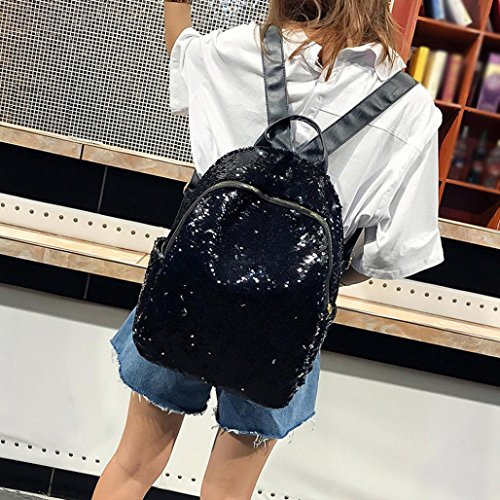 Black Satchel Student Bag Travel Backpack Sequins Fashion Shoulder Girl School Bag EUzeo nwUYZPFTx