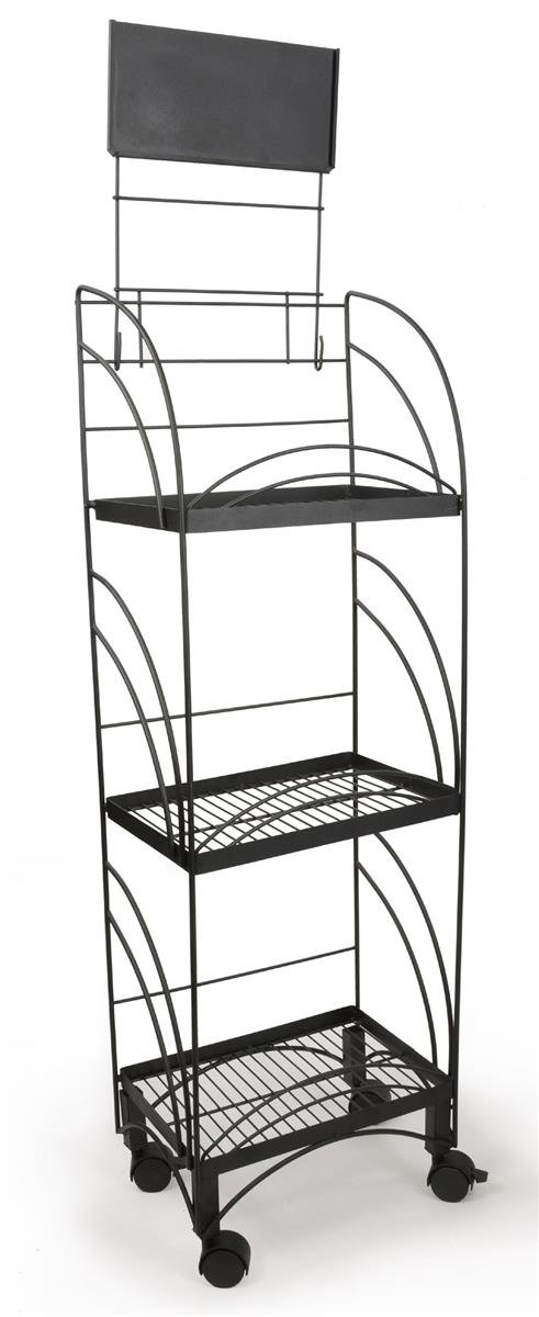 Displays2go Wire Shelving Unit with Locking Wheels, 14.5-Inch, Black