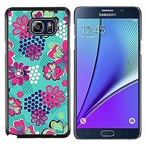 Caucho caso de Shell duro de la cubierta de accesorios de protección BY RAYDREAMMM - Samsung Galaxy Note 5 5th N9200 - estampado de flores verde azulado estrellas panal verde