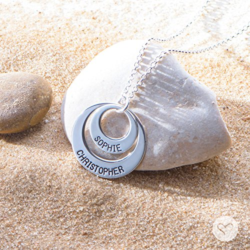 MyNameNecklace Personalized Disc Necklace - Engraved Pendants w/Any Name, Word, or Date For Mom! Custom Jewelry