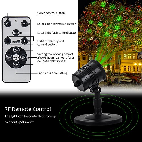 Diateklity YG-LA-01 Projector Red and Green Star Shower Outdoor Laser Light for Christmas, Party, Landscape, House and Garden Decorations by Diateklity (Image #2)