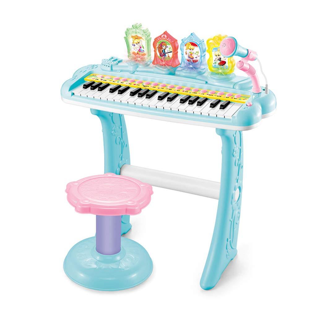 LINGLING-Tastiera Piano elettronico Multifunzionale del Microfono del Piano del Giocattolo della Ragazza del Ragazzo del Piano (colore   Blu)
