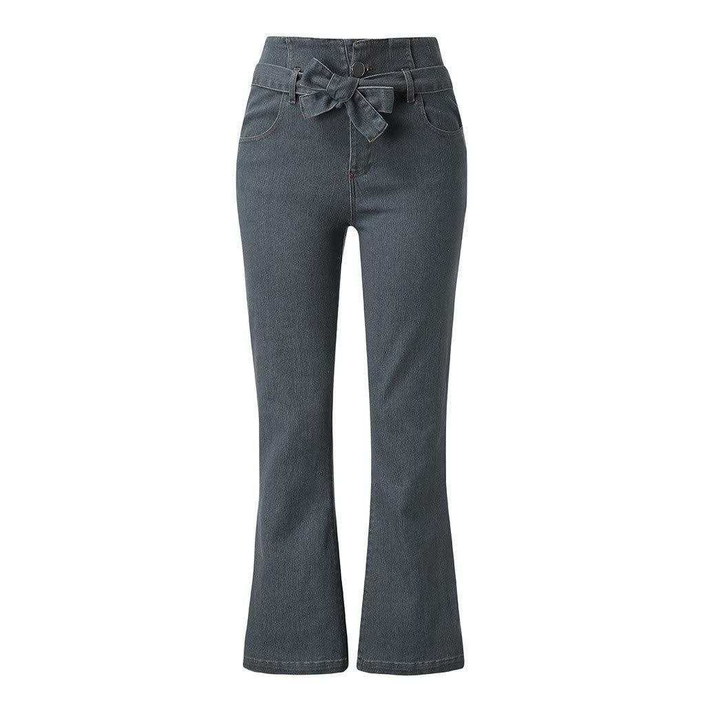 Danhjin Womens Bow Tie Loose Waist Pocket Solid Loose Pants Broad Leg Pants Flared Pants Gray