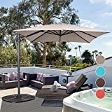 Sundale Outdoor 8.2ft Square Offset Hanging Umbrella Market Patio Umbrella Aluminum Cantilever Pole with Crank Lift, Corss Frame, Polyester Canopy, 360°Rotation, for Garden, Deck, Backyard (Taupe)