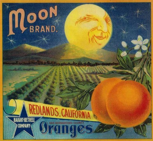 Redlands, SAN Bernardino County, California Moon Brand Orange Oranges Citrus Fruit Crate Box Label Art Print