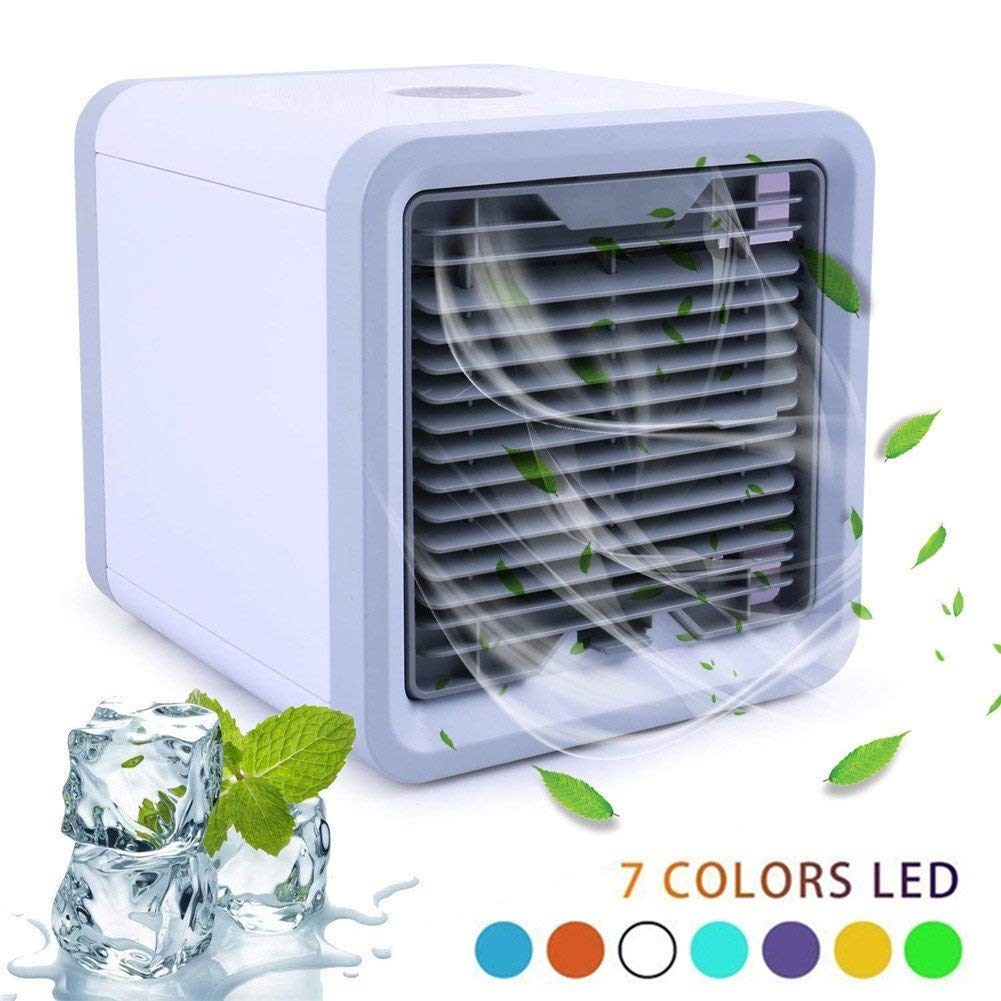 Nifogo Air Cooler Portable Mini Personal Space Air Conditioner, humidifier & purifier 7 Colors LED Lights Room, Office,Outdoor (White) Lieber Group
