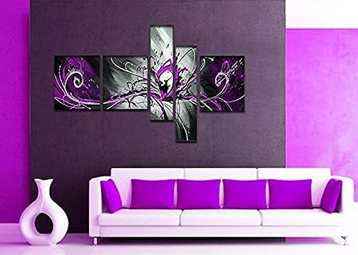 Globalartwork- Handpainted 5 Piece Black White Purple Modern