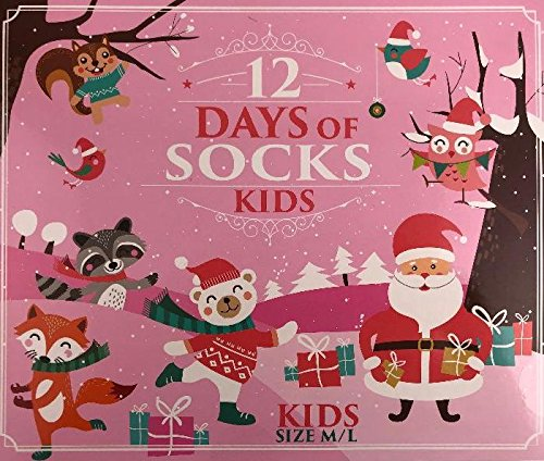 Surprise Mens Womens and Kids Novelty Holiday 12 Days of Christmas Socks (Kids/Girls, Sock Size 9-11 Fits Shoe Size - Square Open Today One