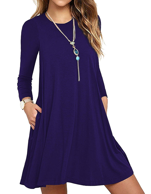 VERABENDI Women's Long Sleeve Casual Loose T-Shirt Swing Pocket Dress Royal Blue XL