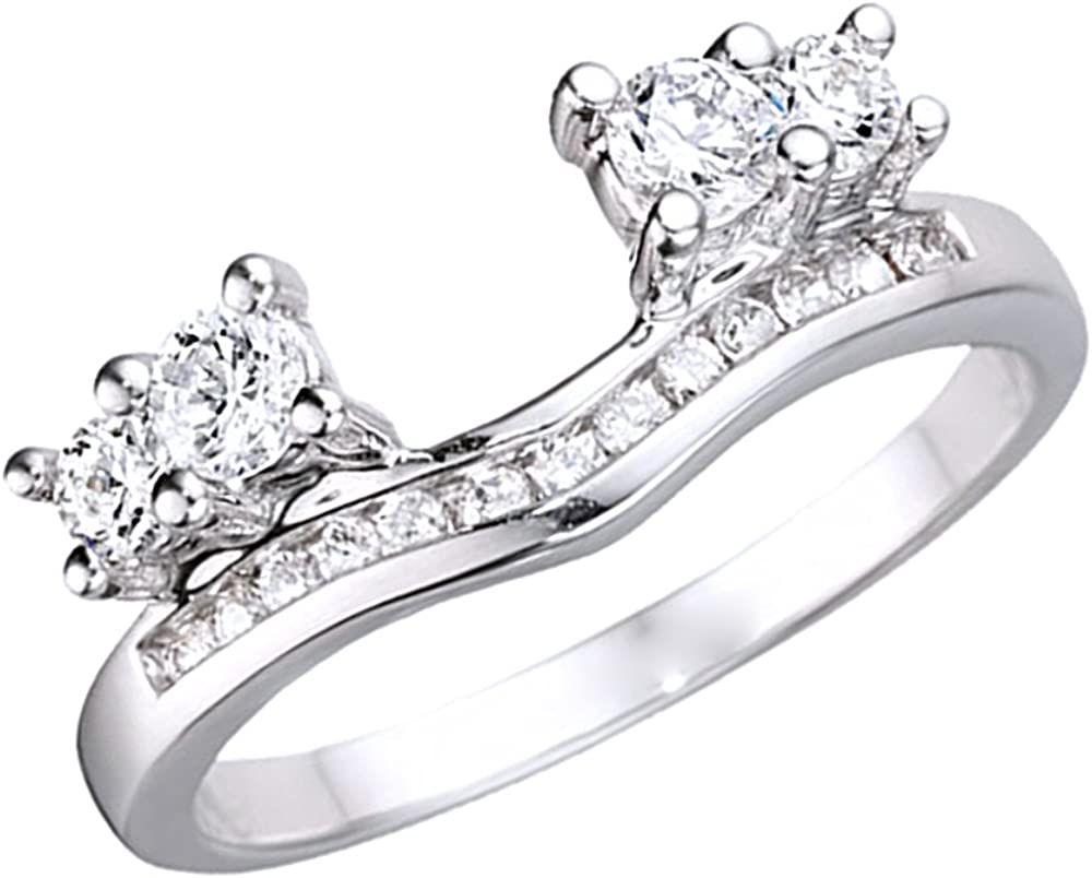 Triostar 0.34 Ct D/VVS1 Diamond Solitaire Anniversary Ring Wrap Enhancer in 14K White Gold Plated