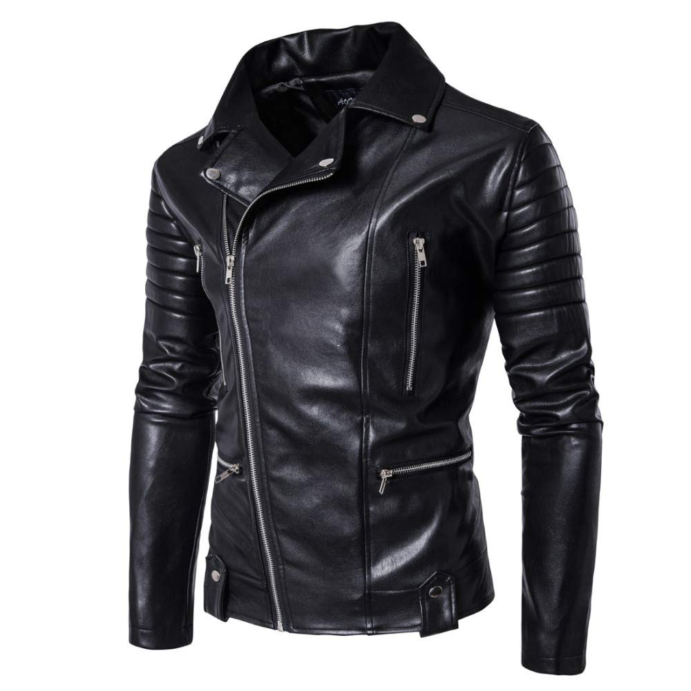 0a43036bcee7 Mens Long Sleeve Premium Stand Collar Zip Up Locomotive Faux Leather Jacket  at Amazon Men s Clothing store