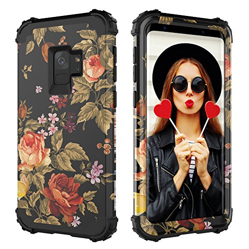 Digital Hutty 3 in 1 Shockproof Heavy Duty Full-Body Protective Cover for Samsung Galaxy S9 2018 Release Flower