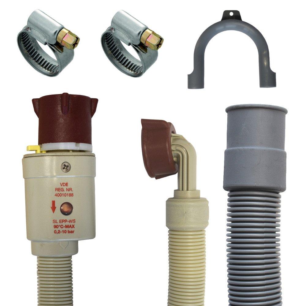 Anschluss Set Aquastopschlauch +Ablaufschlauch +2Schellen für Waschmaschine und Geschirrspüler (2 Meter) Boni-Shop®