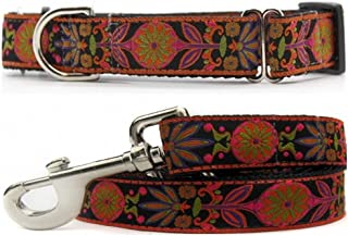 "product image for Diva-Dog 'Venice Ink' 1"" Wide Chainless Martingale Dog Collar, Matching Leash Available"