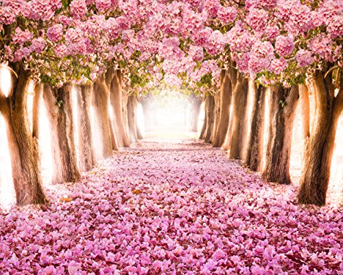 Pink Flower Tree Backdrop, spring pink flower ground wedding girls' birthday party, printed fabric photography background (G0001, 10' wide by 8' tall)