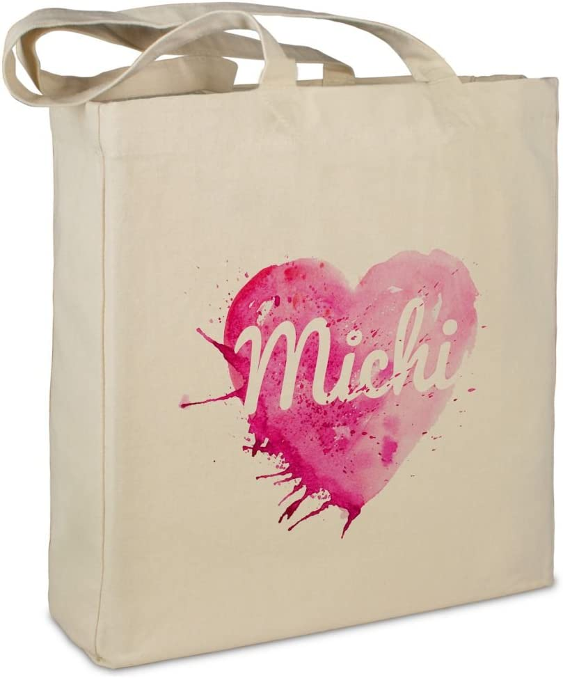 Jutebeutel mit Namen Michi Motiv Painted Heart