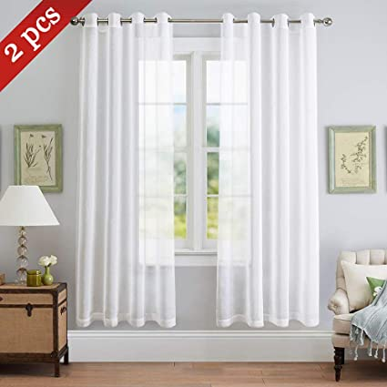 NICETOWN Sheer Curtains Window Voile Panels For Dining Room White Living