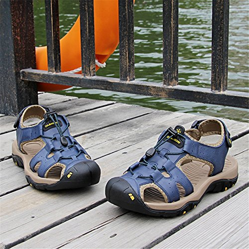 Men's Slippers Genuine Leather Beach Slippers Casual Sandals Lace Non-Slip Soft Flat Closed Toe,Flip Flop Sandals for Men Blue