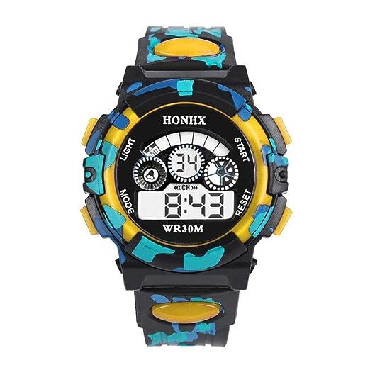 souarts Niños Deportes reloj digital LED reloj con función de despertador Multi pulsera de silicona digital display Reloj para niñas tarnung Color Amarillo: ...