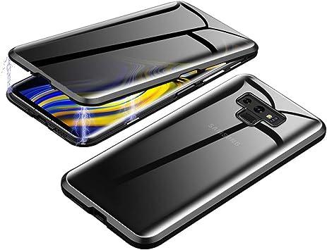 Coque Samsung Galaxy Note 9, Jonwelsy 360 Degres Avant et Arrière en Verre Trempé Intimité Anti Peeping Screen Bumper Magnétique en Métal pour Samsung ...