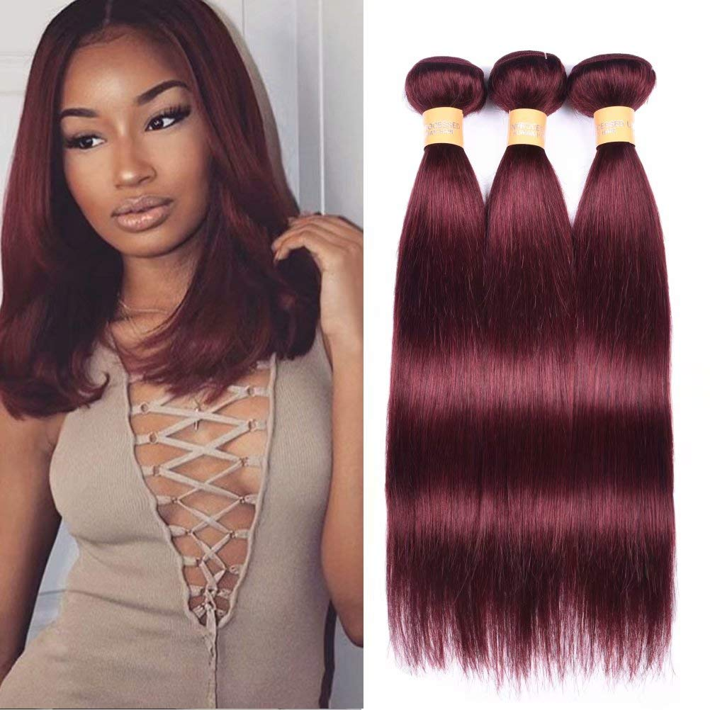 Amazon Com Wome Hair Color 99j Red Straight Hair Weaves 100
