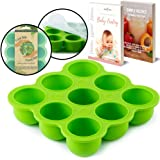BabyBliss Eco Friendly Silicone Baby Food Freezer Storage Tray   9 Large Cups (2.5 Oz)   Clip-On Silicone Lid   Toxin and BPA Free & FDA Approved   Oven and Dishwasher Safe