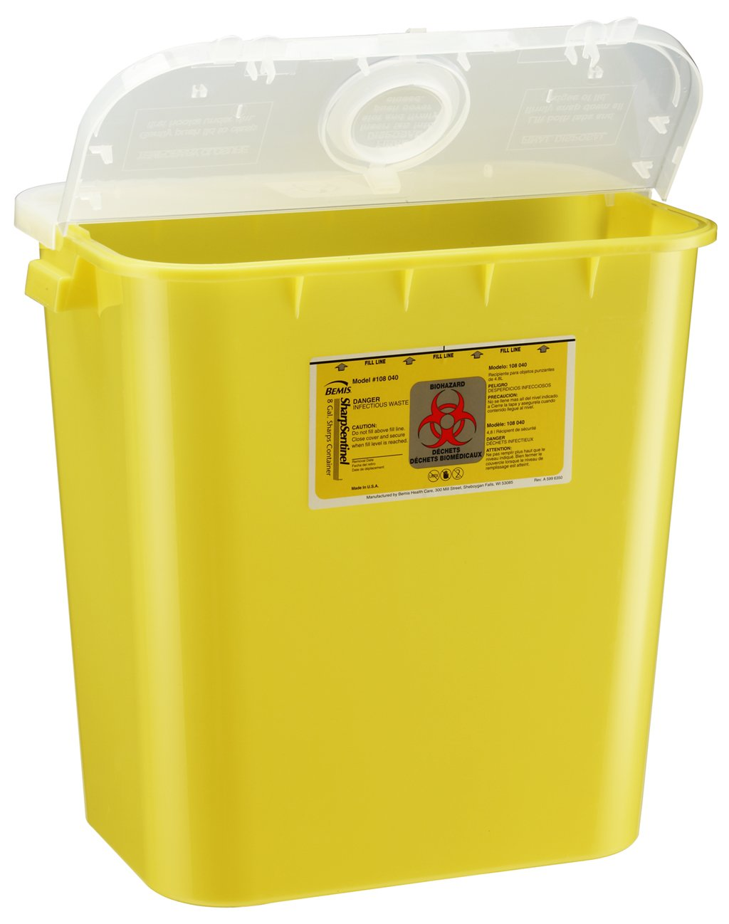Bemis Healthcare 108040-10 8 gal Sharps Container, Yellow (Pack of 10)