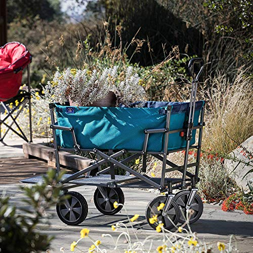Mac Sports Double Decker Collapsible Outdoor Utility Wagon with Straps | Folding Pull Cart, for Sports Baseball Pool Camping Fishing, Collapsable Fold up Wagon with Wheels, Heavy Duty Steel, Teal by Mac Sports (Image #4)