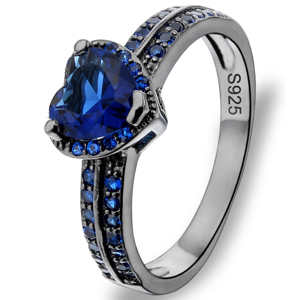 Ever Faith Black Sterling Silver 925 Luxury CZ Love Heart Cut Cocktail Ring Sapphire Color