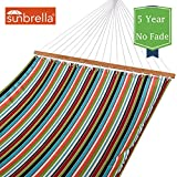 Lazy Daze Hammocks Sunbrella Fabric Hammocks with Spread Bar and Handcrafted Polyester Rope for Two Person, All Weather Fade Resistant, 450 lbs Capacity, Carousel Condetti