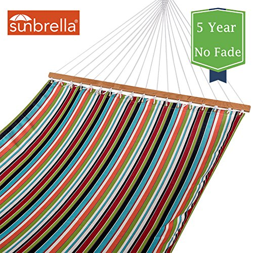 Cheap Lazy Daze Hammocks Sunbrella Fabric Hammocks with Spread Bar and Handcrafted Polyester Rope for Two Person, All Weather Fade Resistant, 450 lbs Capacity, Carousel Condetti